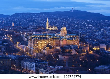 Budapest by night: Royal Palace of Buda and Matthias church from bird's-eye view