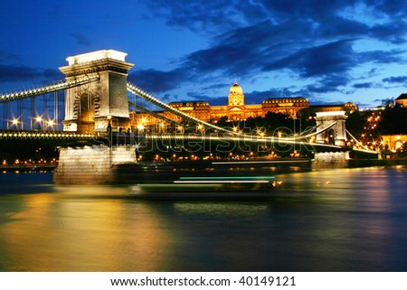 Budapest Chain Bridge and Royal palace at night
