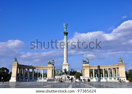 BUDAPEST - CIRCA MAY 2011: Tourists visit Millennium Monument in  This square has been UNESCO World Heritage site since 2002.