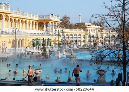 BUDAPEST - CIRCA NOVEMBER 2008: People having thermal bath in the Szechenyi spa circa November 2008 in Budapest, Hungary.