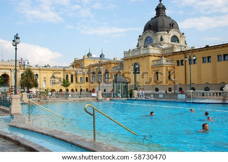 BUDAPEST - CIRCA SEPTEMBER 2009: People have a thermal bath in the Szechenyi spa circa September 2009 in Budapest. Szechenyi Medicinal Bath is the largest medicinal bath in Europe.