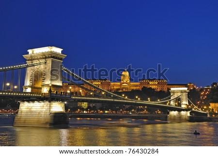 Budapest city night scene - long exposure