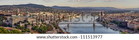Budapest city panorama with Danube view, Hungary