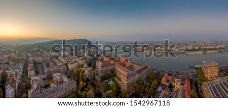 Budapest cityscape with Danube river and University of technology and economics műszaki és gazdaságtudományi egyetem  Stock fotó ©