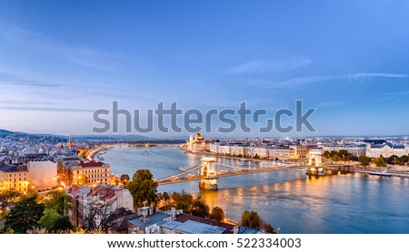 Budapest dusk scene of downtown with river. Budapest is the capital fo european country Hungary and very popular travel destination for romantic trip.