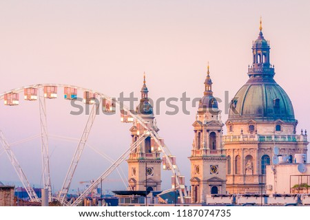 Budapest Eye and Basilica during sunset hour Stock fotó ©