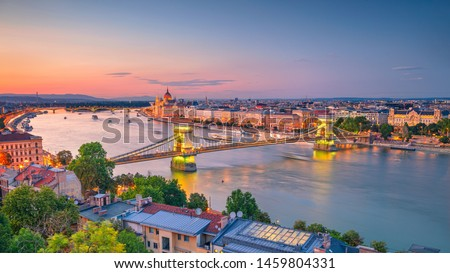 Budapest, Hungary. Aerial cityscape image of Budapest panorama with Chain Bridge and parliament building during summer sunset. Stock fotó ©