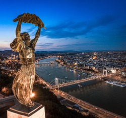 Budapest, Hungary - Aerial panoramic view of Budapest from above, with Liberty Statue, Elisabeth bridge and Szechenyi Chain Bridge, Buda Castle, Matthias Church, Hungarian Parliament