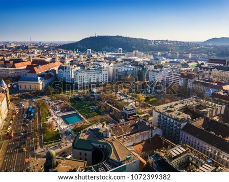Budapest, Hungary - Aerial skyline view of Elisabeth Square and Deak Square with Statue of Liberty at background at sunset with clear blue sky