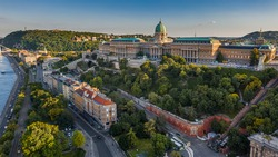 Budapest, Hungary - Aerial view of the beautiful Buda Castle Royal Palace with Hungarian Citadel at background on a sunny summer afternoon