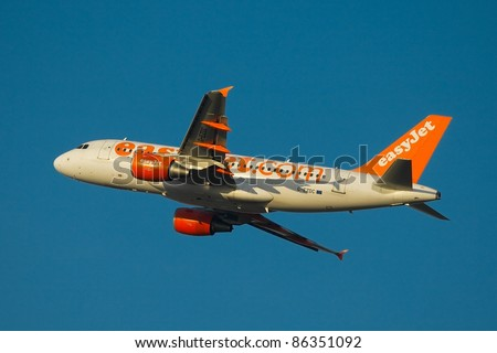 BUDAPEST, HUNGARY - APRIL 11: Easy Jet flight takes off at Budapest Liszt Ferenc International Airport on April 11, 2011 in Budapest, Hungary. Easyjet is a British airline operating about 500 routes mainly in Europe.