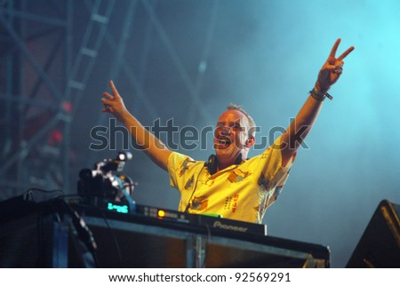 BUDAPEST, HUNGARY - AUG 13: British DJ Fatboy Slim, Norman Cook, in concert at the annual Sziget music festival on Thursday, August 13, 2009 in Budapest, Hungary