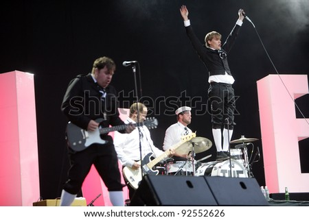 BUDAPEST, HUNGARY - AUG 11: Swedish rock/ punk band The Hives in concert at the annual Sziget festival on Wednesday, August 11, 2010 in Budapest, Hungary