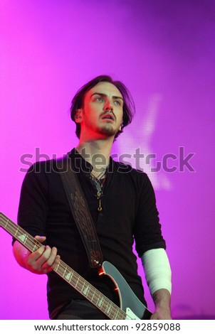 BUDAPEST, HUNGARY - AUG 12: The rock band Snow Patrol in concert at the Sziget music festival in Budapest, Hungary, on Wednesday, August 12, 2009.  Snow Patrol are an alternative rock band from Northern Ireland and Scotland.