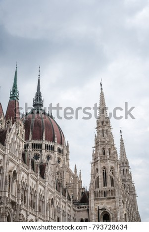 Budapest, Hungary - August 13, 2017: Outdoors view of Hungarian Parliament Building. It is the seat the National Assembly of Hungary #793728634