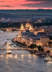 Budapest - Hungary - Best angle of Budapest - Chain Bridge, Hungarian Parliament over Danube river at sunset
