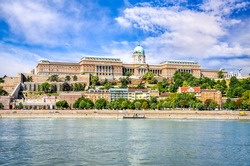 Budapest, Hungary - Buda Castle or Royal Palace of Buda, built on the southern Castle Hill in 1265AD and Danube River.