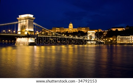Budapest, Hungary Chain bridge and Buda Castle