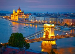 Budapest, Hungary. Chain Bridge and the Parliament. HDR