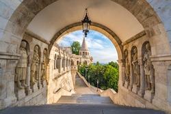 Budapest Hungary, city skyline at Fisherman Bastion Gate