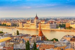 Budapest Hungary, city skyline at Hungalian Parliament and Danube River