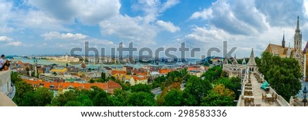BUDAPEST, HUNGARY, JULY 30, 2014: panorama View over restaurant on the top of halszbastya - fishermans bastion in hungarian capital budapest.