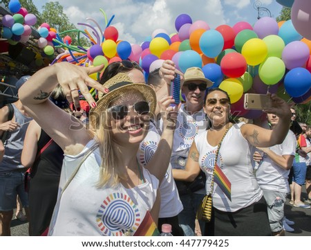 BUDAPEST,HUNGARY - JULY 2.Unidentified people took part in Budapest Gay Pride parade to support the LGBT (lesbian, gay, bisexual, and trans-gender) rights on July 2 2016 in Budapest, Hungary. #447779425