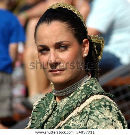 BUDAPEST, HUNGARY - JUNE 7: Attractive woman actress in period dress on National Gallop on Heroes\' Square on 7th of June, 2010 in Budapest, Hungary