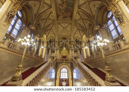 BUDAPEST HUNGARY MARCH 26 2014 Interior of Hungarian Parliament Building in Budapest It is one of Europe's oldest legislative buildings and a popular tourist destination of Budapest