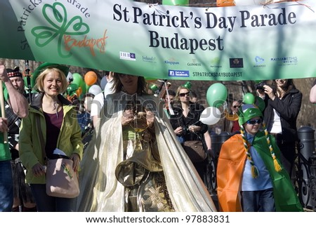 BUDAPEST, HUNGARY - MARCH 17 : St. Patrick Day at March 17, 2012 in Budapest, Hungary. The Irish community in Budapest had a festival to celebrate their saint, St. Patrick.