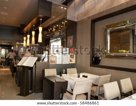 BUDAPEST, HUNGARY - MAY 07: Interior of the first class Costes Restaurant, awarded with the Michelin Star rating by Michelin inspectors first time in Hungary on 07 May, 2010 in Budapest, Hungary. - stock photo