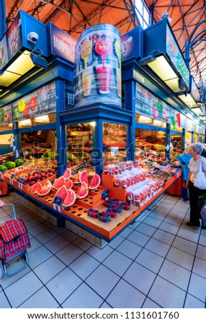 Budapest Hungary - May 24, 2018: People shopping in the Grand Market Hall. Great Market Hall is the largest indoor market in Budapest, it was built in 1896 still in full glory.  #1131601760