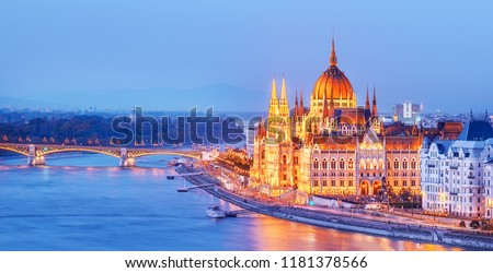 Budapest, Hungary. Night view on Parliament building over delta of Danube river. Stock fotó ©