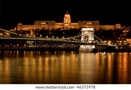 Budapest - Hungary Nighttime  of Buda castle and Szechenyi chain bridge over Danube in Budapest,  Hungary