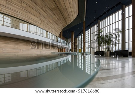 BUDAPEST, HUNGARY - NOVEMBER 17, 2016: Interior of the contemporary building Palace of Arts (MUPA). MUPA is the most popular music hall and cultural center in Budapest, officially opened in March 2005 #517616680