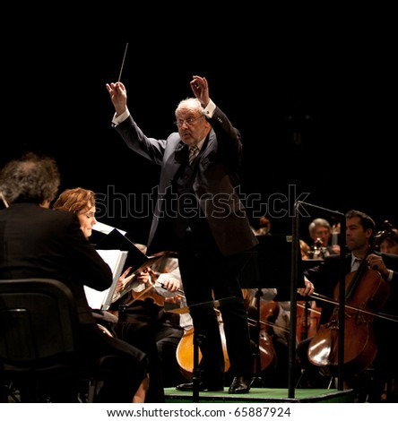 BUDAPEST, HUNGARY - NOVEMBER 20: The MAV Symphonic Orchestra performs at The Millenaris stage on Nov 20, 2010 in Budapest, Hungary. Conductor: Antal Matyas