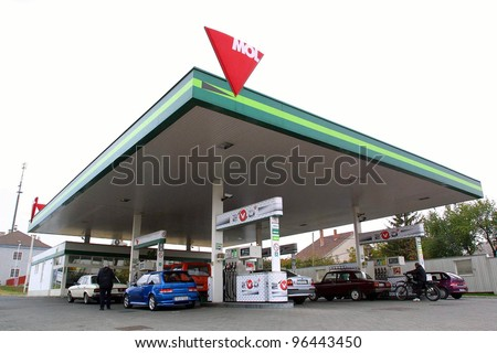 BUDAPEST, HUNGARY - OCT 22: A MOL gas station. MOL is Hungary and Central Europe's  largest oil and natural gas producer and retailer on October 22, 2003 in Budapest, Hungary