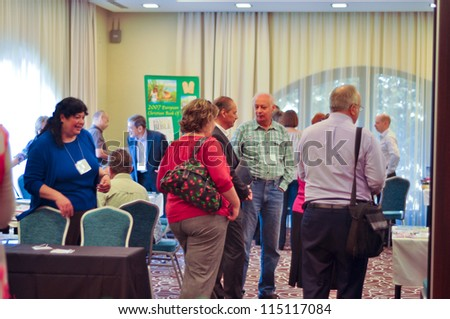 BUDAPEST, HUNGARY - OCTOBER 04: Participants and visitors at International Christian Publishers Book Forum 'Marketsquare Europe 2012 'on October 04, 2012 in Budapest, Hungary.
