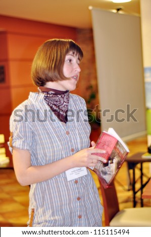 BUDAPEST, HUNGARY - OCTOBER 04: Presenting 2012 European Christian Book of the Year, \'Warm Stories for Coffee Time\' by Nadiyka Gerbish, at Marketsquare Europe on October 04, 2012 in Budapest, Hungary.