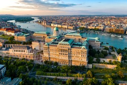 Budapest Hungary - skyline panorama of Budapest. The Danube the Parliament the Chain Bridge and the Buda Castle and the Margaret bridge .