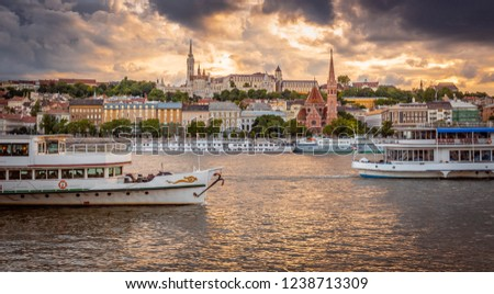 Budapest, Hungary - Summer vibes on Danube river with Matthias Church #1238713309