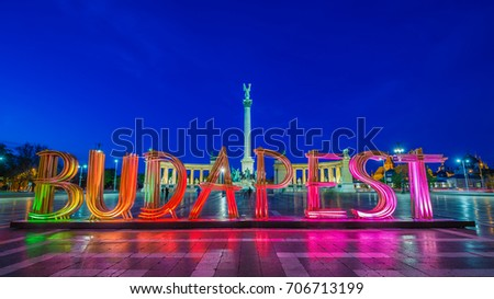 Budapest, Hungary - The beautiful colorful Heroes' Square at blue hour