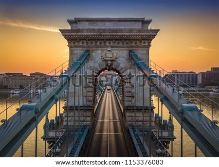 Budapest, Hungary - The world famous Szechenyi Chain Bridge at sunrise