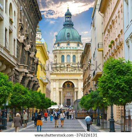 Budapest. Hungary. Zrinyi Utca street and Saint Stephen`s Basilica. Stock fotó ©