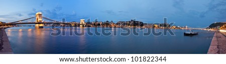 Budapest in the evening,  lighting and bridges,panorama photo