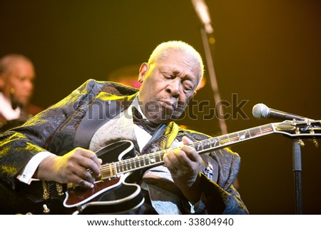 BUDAPEST-JULY 16: Legendary blues guitar player B.B. King in concert at Sportarena  Budapest July 16, 2009 in Budapest, Hungary