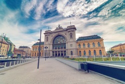 Budapest Keleti Railway Station on the morning with dramatic sky