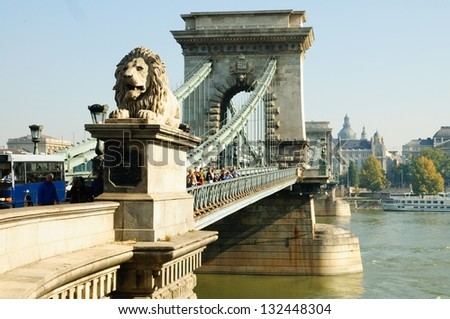 Stock Photo Budapest, lion statue decorating the Chain bridge