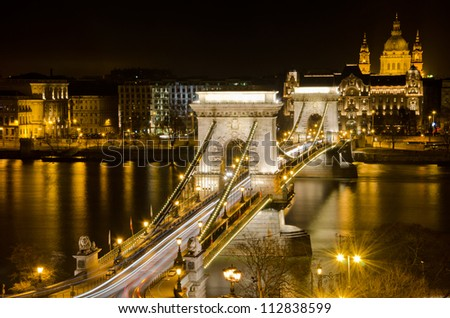 Budapest lookout at night with Chain Bridge