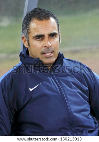 BUDAPEST - MARCH 3: Jose Gomes, head coach of Videoton during Budapest Honved vs. Videoton FC OTP Bank League football game at Bozsik Stadium on March 3, 2013 in Budapest, Hungary.